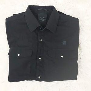 G-star Raw Black snap button shirt Sz L